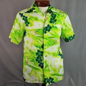 Vtg Green Floral Hawaiian Shirt Medium Mens Aloha